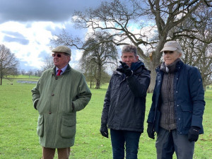 Left to right: Hugh Thomas (event director), Eric Winter (cross country course designer) Lucinda Green (6 time Badminton winner and interactive map guest expert)