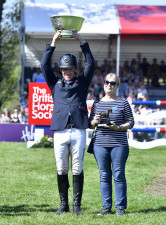 Oliver Townend with The Butler Bowl presented to the Best Placed British rider with with Angela Hislop, owner of Cooley SRS