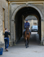 Alex Bragg and Redpath Ransom posing for photos in the stables