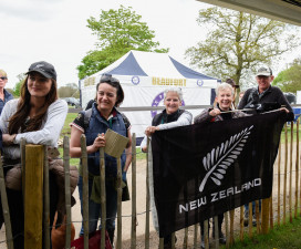 Team New Zealand! Fans flock to the mix zone to get a glimpse of Mark Todd after his test