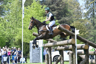 Mr Chunky sailing over the Devoucoux Quad Bar on route to a fantastic clear round