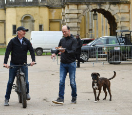 We don't know who's eyeing the breakfast up most - Tim Price or his dog, Scooby