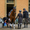 Mark Todd giving some last-minute advice to Georgie Strang, who's horses are based with Mark