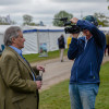 Media Director, Julian Seaman being interviewed on day two of dressage