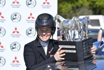 Jonelle Price with the Mitsubishi Motors Badminton Horse Trials trophy