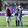The Princess Royal presents the Butler Bowl to Oliver Townend as the Best Placed British rider and  Angela Hislop, owner of Cooley SRS (right)