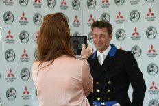 Simon Grieve facing the media after his dressage test this afternoon