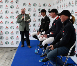 Sir Mark Todd, Oliver Townend and Ros Canter entertain the crowds at the ChatZone