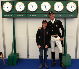 A huge height difference between Ros Canter and Sir Mark Todd, but they both ride the same size horses and sit in 2nd and 3rd place respectively - Eventing really does put all competitors on a level playing field