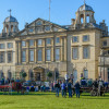 Crowds gather in front of Badminton House ahead of the final horse inspection