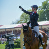 Terrific from Tattersall - Gemma punches the air after a great clear on Arctic Soul