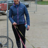 Gemma Tattersall returning from a course walk with her two helpers