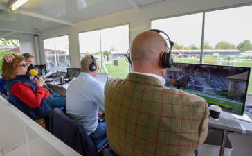 The commentator's view of the dressage