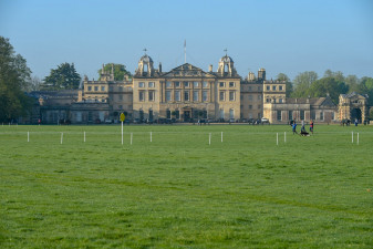 Horses grazing in front of Badminton House ahead of the cross country phase