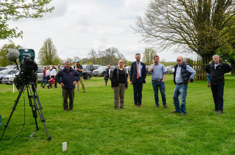 Chris Lewis and his media team discuss the TV camera position ahead of cross country day