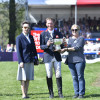 The Princess Royal presents the Frank Weldon Trophy for the rider of the youngest British Bred & owned horse to Oliver Townend and  Angela Hislop, owner of Cooley SRS (right)