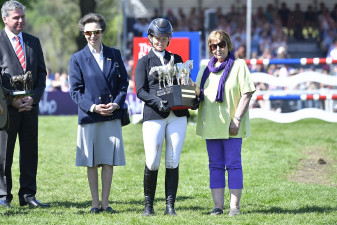 HRH The Princess Royal, presenting the trophy to Jonelle Price and Trisha Rickards