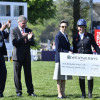 The Princess Royal presents Retraining of Racehorses trophy to Gemma Tattersall for the highest place ex-racehorse, Arctic Soul. L to R: The Duke of Beaufort, Lance Bradley, Vice-president of Mitsubishi Motors UK, The Princess Royal and Gemma Tattersall