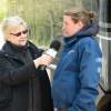 Flora Harris being interviewed by BBC Radio Wiltshire