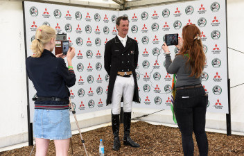 Mark Todd chatting to the media after a stunning test on Kiltubrid Rhapsody sees him take the lead on dressage day two