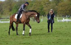 Dee Hankey putting Chequers Playboy through his paces, ahead of their dressage test tomorrow morning